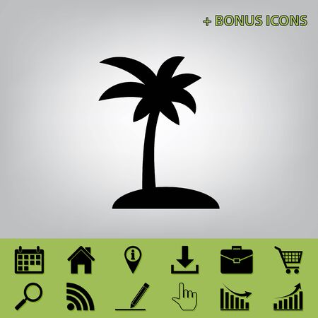Coconut palm tree sign. Vector. Black icon at gray background with bonus icons at celery ones Illustration