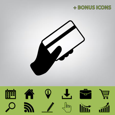 paying: Hand holding a credit card. Vector. Black icon at gray background with bonus icons at celery ones Illustration