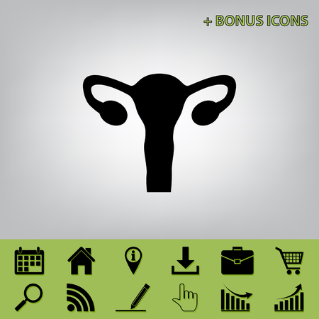 Human anatomy. Uterus sign. Vector. Black icon at gray background with bonus icons at celery ones