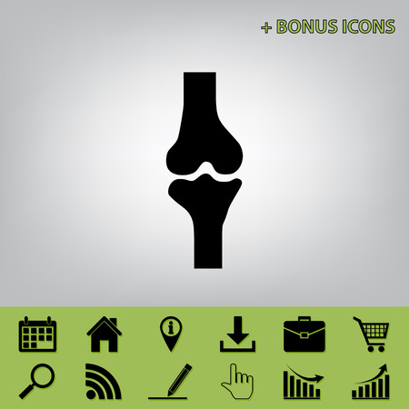 Knee joint sign. Vector. Black icon at gray background with bonus icons at celery ones Illustration