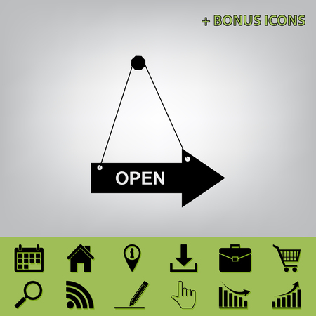 Open sign illustration. Vector. Black icon at gray background with bonus icons at celery ones