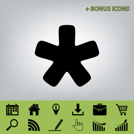 reference point: Asterisk star sign. Vector. Black icon at gray background with bonus icons at celery ones