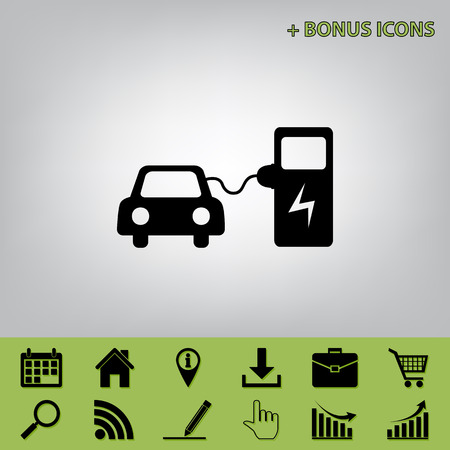 power cables: Electric car battery charging sign. Vector. Black icon at gray background with bonus icons at celery ones