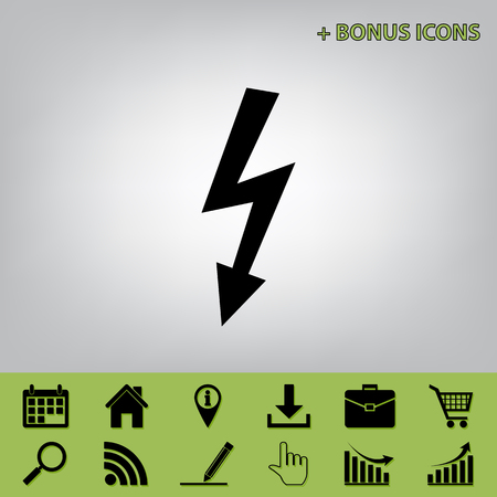 High voltage danger sign. Vector. Black icon at gray background with bonus icons at celery ones
