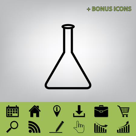Conical Flask sign. Laboratory glass sign. Vector. Black icon at gray background with bonus icons at celery ones Illustration