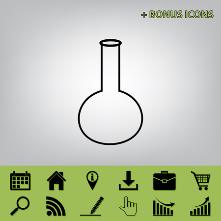Tube. Laboratory glass sign. Vector. Black icon at gray background with bonus icons at celery ones