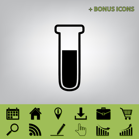 medical technology: Medical Tube icon. Laboratory glass sign. Vector. Black icon at gray background with bonus icons at celery ones Illustration