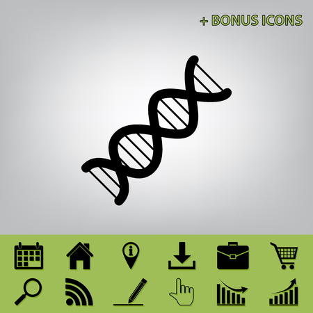 The DNA sign. Vector. Black icon at gray background with bonus icons at celery ones Illustration