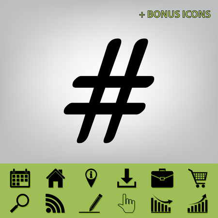 Hashtag sign illustration. Vector. Black icon at gray background with bonus icons at celery ones