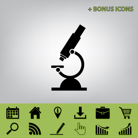 Chemistry microscope sign for laboratory. Vector. Black icon at gray background with bonus icons at celery ones