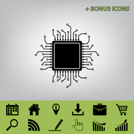 gpu: CPU Microprocessor illustration. Vector. Black icon at gray background with bonus icons at celery ones Illustration