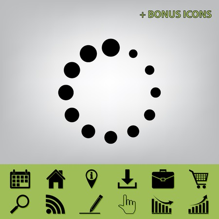 Circular loading sign. Vector. Black icon at gray background with bonus icons at celery ones