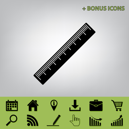 size: Centimeter ruler sign. Vector. Black icon at gray background with bonus icons at celery ones