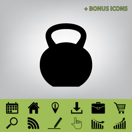 gym equipment: Fitness Dumbbell sign. Vector. Black icon at gray background with bonus icons at celery ones Illustration
