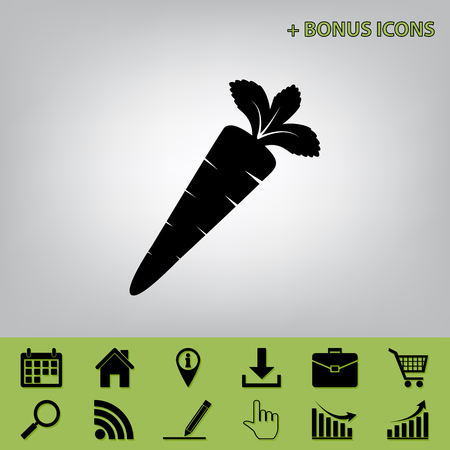scrumptious: Carrot sign illustration. Vector. Black icon at gray background with bonus icons at celery ones
