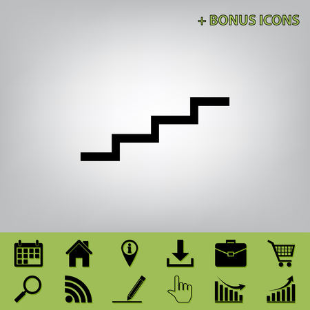 Stair up sign. Vector. Black icon at gray background with bonus icons at celery ones