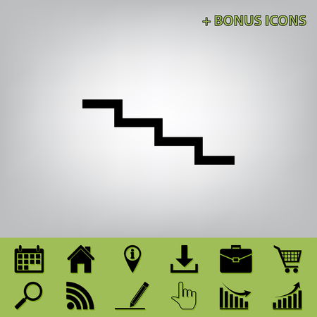 Stair down sign. Vector. Black icon at gray background with bonus icons at celery ones Illustration