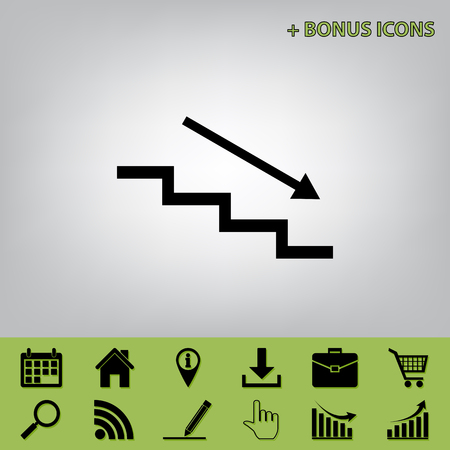 Stair down with arrow. Vector. Black icon at gray background with bonus icons at celery ones