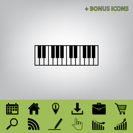 Piano Keyboard sign. Vector. Black icon at gray background with bonus icons at celery ones