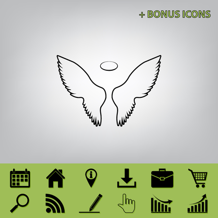 Wings sign illustration. Vector. Black icon at gray background with bonus icons at celery ones Illustration