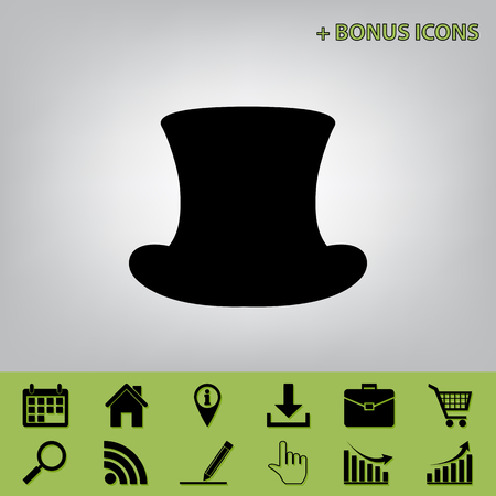 Top hat sign. Vector. Black icon at gray background with bonus icons at celery ones