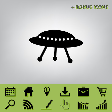 UFO simple sign. Vector. Black icon at gray background with bonus icons at celery ones