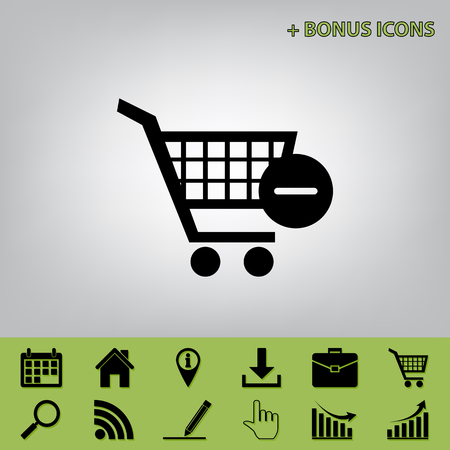 Vector Shopping Cart with Remove sign. Vector. Black icon at gray background with bonus icons at celery ones