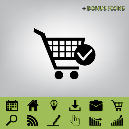 Shopping Cart with Check Mark sign. Vector. Black icon at gray background with bonus icons at celery ones