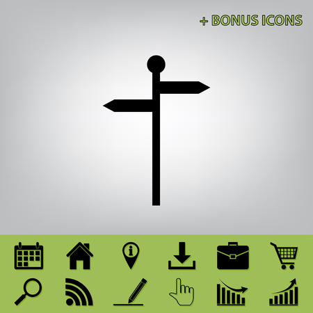guidepost: Direction road sign. Vector. Black icon at gray background with bonus icons at celery ones