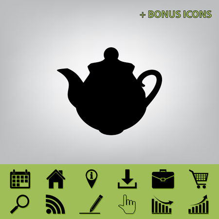 Tea maker Kitchen sign. Vector. Black icon at gray background with bonus icons at celery ones Illustration