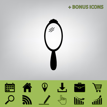 plated: Hand Mirror sign. Vector. Black icon at gray background with bonus icons at celery ones