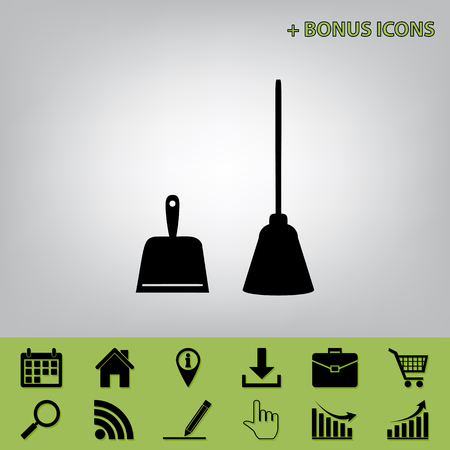 whisk broom: Dustpan vector sign. Scoop for cleaning garbage housework dustpan equipment. Vector. Black icon at gray background with bonus icons at celery ones