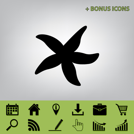 star fish: Sea star sign. Vector. Black icon at gray background with bonus icons at celery ones