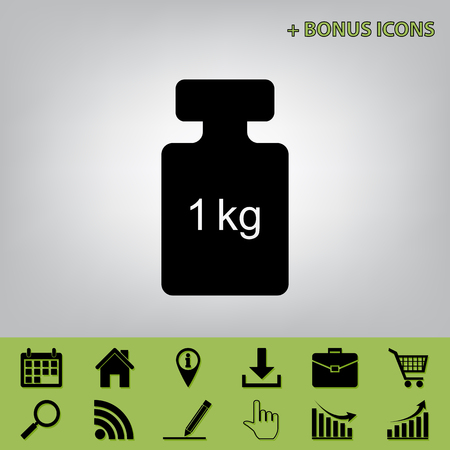 Weight simple sign. Vector. Black icon at gray background with bonus icons at celery ones 일러스트