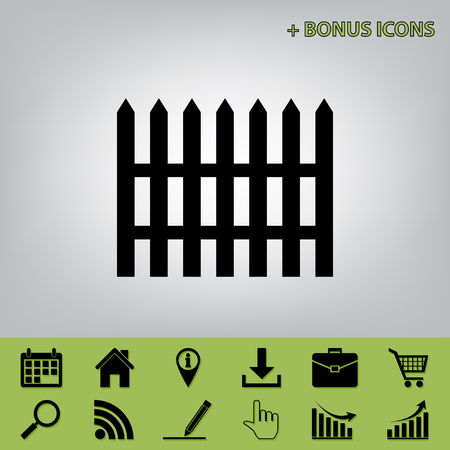 Fence simple sign. Vector. Black icon at gray background with bonus icons at celery ones