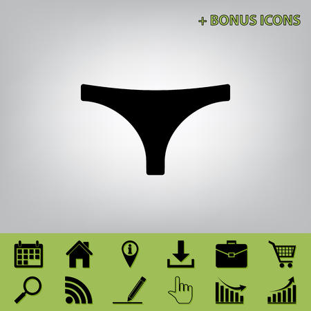 women s clothes: Womens panties sign. Vector. Black icon at gray background with bonus icons at celery ones Illustration