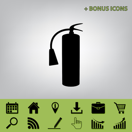 Fire extinguisher sign. Vector. Black icon at gray background with bonus icons at celery ones