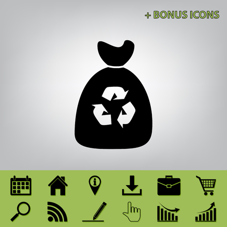 refuse: Trash bag icon. Vector. Black icon at gray background with bonus icons at celery ones Illustration
