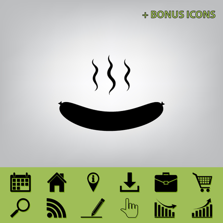 roast lamb: Sausage simple sign. Vector. Black icon at gray background with bonus icons at celery ones Illustration