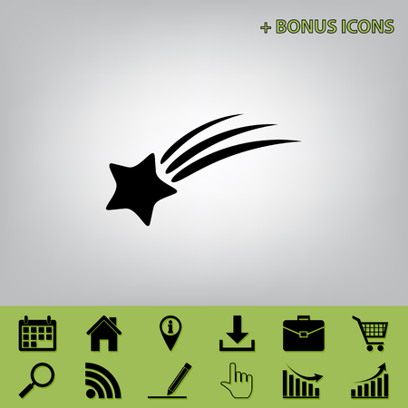 Meteor shower sign. Vector. Black icon at gray background with bonus icons at celery ones