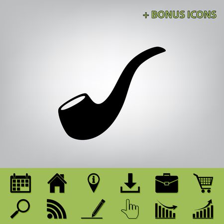 Smoke pipe sign. Vector. Black icon at gray background with bonus icons at celery ones