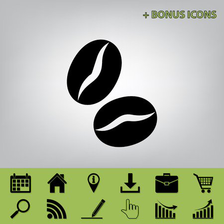 Coffee beans sign. Vector. Black icon at gray background with bonus icons at celery ones Ilustração
