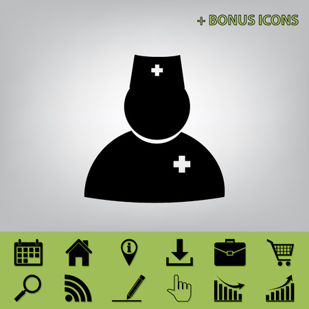 emergency cart: Doctor sign illustration. Vector. Black icon at gray background with bonus icons at celery ones