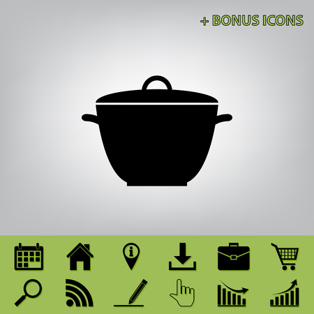 Saucepan simple sign. Vector. Black icon at gray background with bonus icons at celery ones