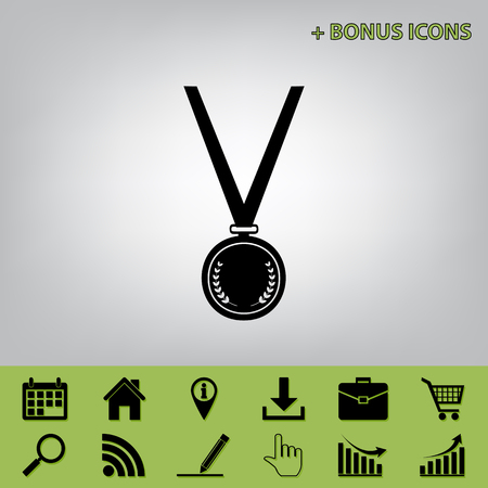 Medal simple sign. Vector. Black icon at gray background with bonus icons at celery ones