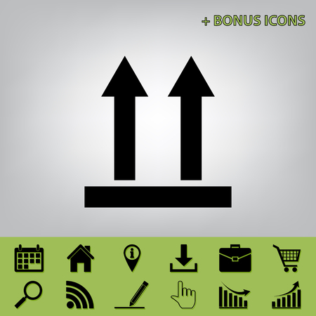 rubbish cart: Logistic sign of arrows. Vector. Black icon at gray background with bonus icons at celery ones
