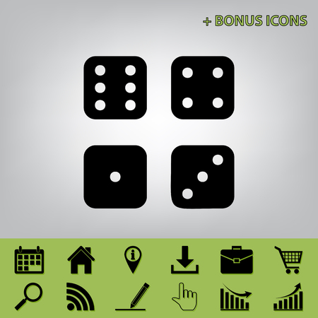probability: Dice sign. Vector. Black icon at gray background with bonus icons at celery ones Illustration
