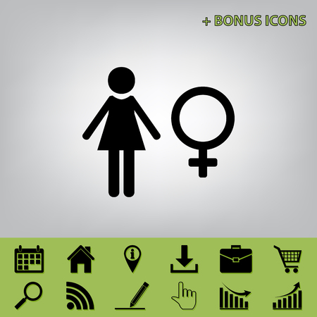 Female sign illustration. Vector. Black icon at gray background with bonus icons at celery ones Illustration
