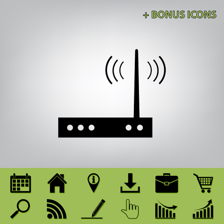 Wifi modem sign. Vector. Black icon at gray background with bonus icons at celery ones