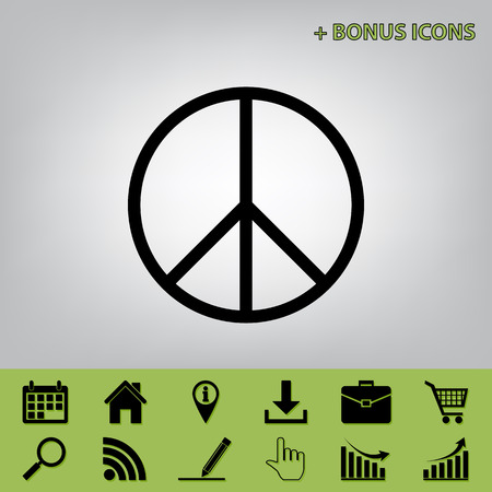 Peace sign illustration. Vector. Black icon at gray background with bonus icons at celery ones Illustration